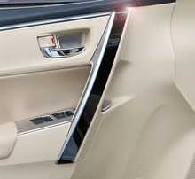 Car inner door armrest stainless steel decorative trim cover 4pcs for Toyota 2014 2015 Corolla (not for european model )