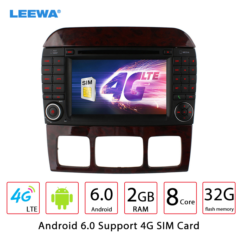 LEEWA 7 Android 6.0 (64bit) DDR3 2G/32G/4G Car DVD GPS Radio Head Unit For Mercedes Benz S W220 S280/S320/S350/S400/S430/S500 leewa 7 android 6 0 64bit ddr3 2g 32g 4g lte octa core car dvd gps radio head unit for ford transit connect tourneo connect