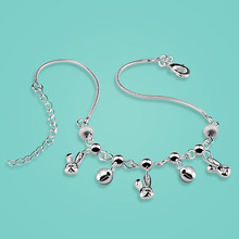 Fashion 925 sterling silver anklets cute The rabbit pendant Solid silver chain 27cm women s popular