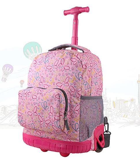681556be7ad 16 Inch Rolling Backpack For Girl Boy Children School Bag With Wheels  Student Trolley Bag School kids Trolley Luggage Backpacks -in School Bags  from Luggage ...