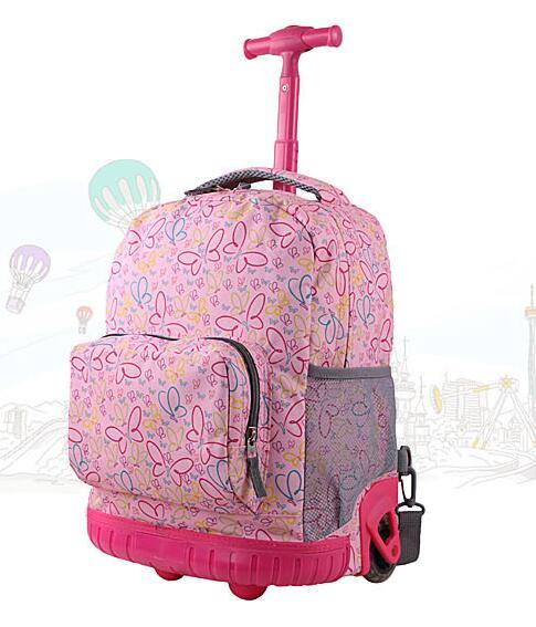16 Inch Rolling Backpack For Girl Boy Children School Bag With Wheels Student Trolley Bag School kids Trolley Luggage Backpacks