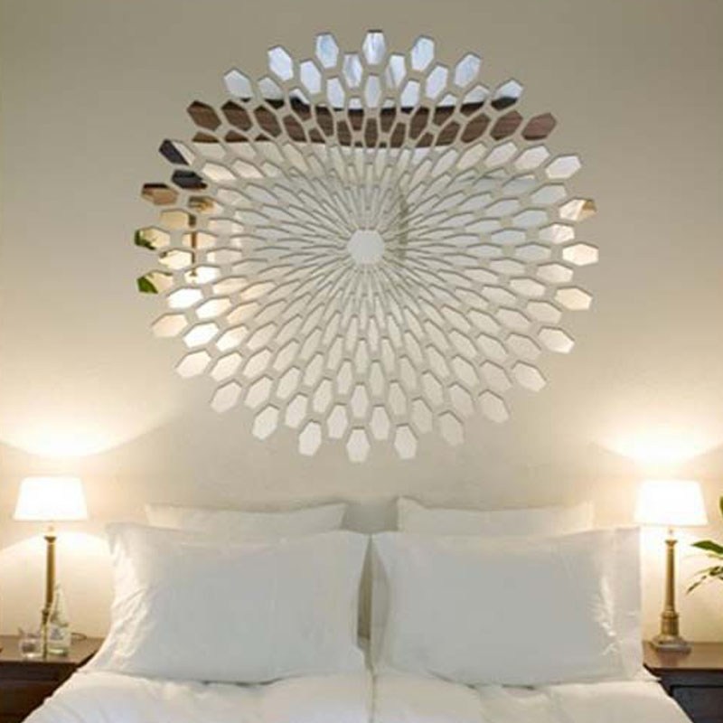 225pcs 3D Group Modern Acrylic Mirror Wall Stickers Adesivo De Parede Big Sticker Large Mirror Surface Wall Decor Vinyl Art