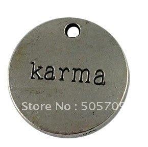 80Pcs Tibetan Silver Color KARMA Charms A12583