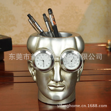 Science Portrait clock thermometer pen multifunction den decorations ornaments living room