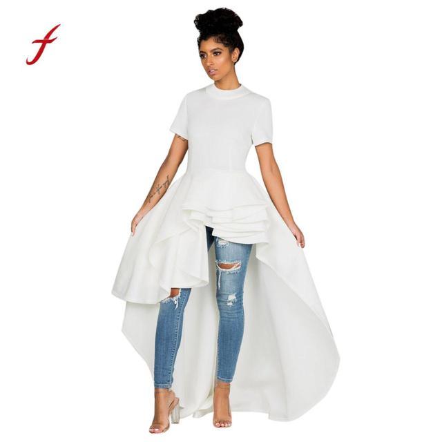 Women Short Sleeve High Low Peplum Dress Bodycon Casual Party Club Dress  Summer Dresses Vestidos Sexy dbb456e1cdd9