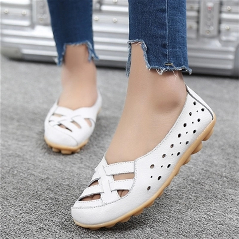 2018 Fashion women flats shoes female genuine leather shoes woman loafers Ballet Flats Hollow out women slipony shoes woman