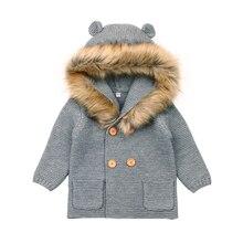Вязаное пальто для малышей куртки с капюшоном с животными для малышей, осенне-зимняя верхняя одежда для малышей Детские пальто Одежда для маленьких мальчиков