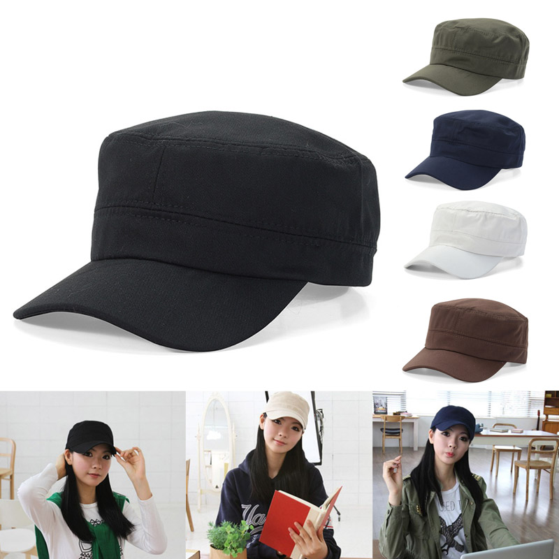 Military Hat Men Women Sunshade Hat Flat Top Breathable Sun Protective Casual Cap Outdoor Solid Color Fashion Military Cap