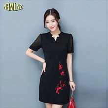 2017 New Spring Women Dress Short sleeve V-neck Pullover Embroidery Medium long Women Dress Fashion China Wind Big yards WUN159