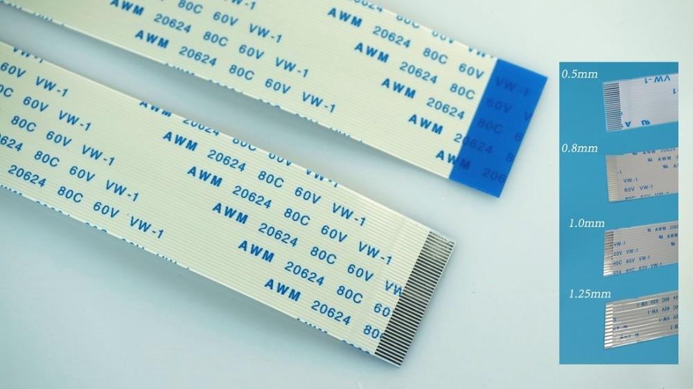 5Pcs AWM 80C 60V VW-1 40 Pin 0.5 Pitch 40mm FFC Flexible Flat Same Side Cable