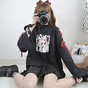 Image 5 - Japanese Oversized Printed Anime Hoodie Women Gothic Street Cool Black Pullover Harajuku Girls Kawaii Comic Cropped Sweatshirt
