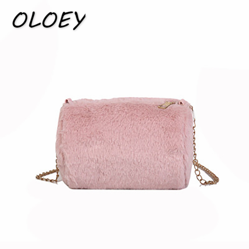 New Fall Winter Women Plush Chain Crossbody Bags Female Fur Cylinder Shoulder  Bags Style Coin Change Phone Packs -in Top-Handle Bags from Luggage   Bags  on ... 24f1a0b70cfad