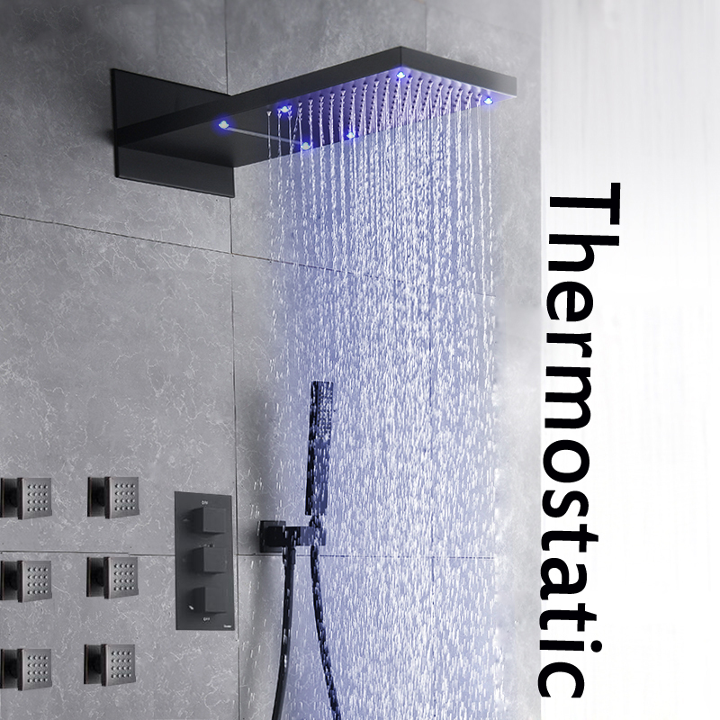 Oil Rubbed Bronze LED Waterfall Rainfall Shower Head Faucet Thermostatic Valve Mixer Tap Massage Jets Sprayer