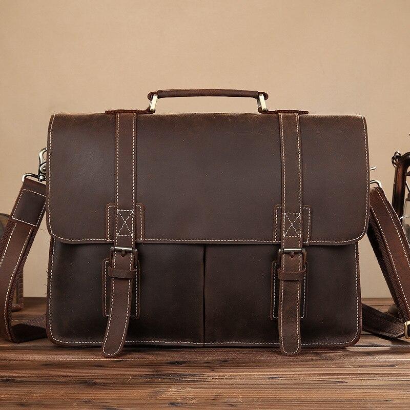 Portfölj Affärsväska Läder Crazy Horse Läder Dubbelspänne Multifunktionsmäns axel Portable Laptop Bag Portfölj