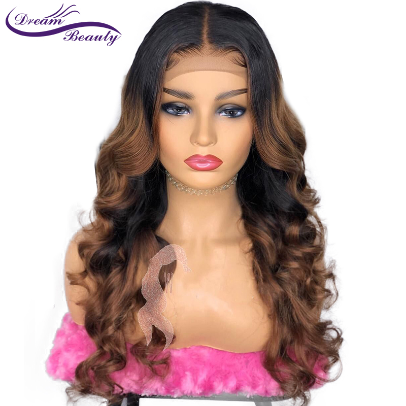 Colored 1b/30 Ombre Lace Front Human Wig With Baby Hair PrePlucked Wavy Brazilian Highlight Color Remy Hair Dream Beauty-in Human Hair Lace Wigs from Hair Extensions & Wigs    1