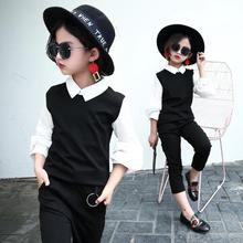 Girls clothing Suits 2018 Spring and Autumn Period British Children Black White Long-sleeved Casual Sport Outfit Set 2 Pcs