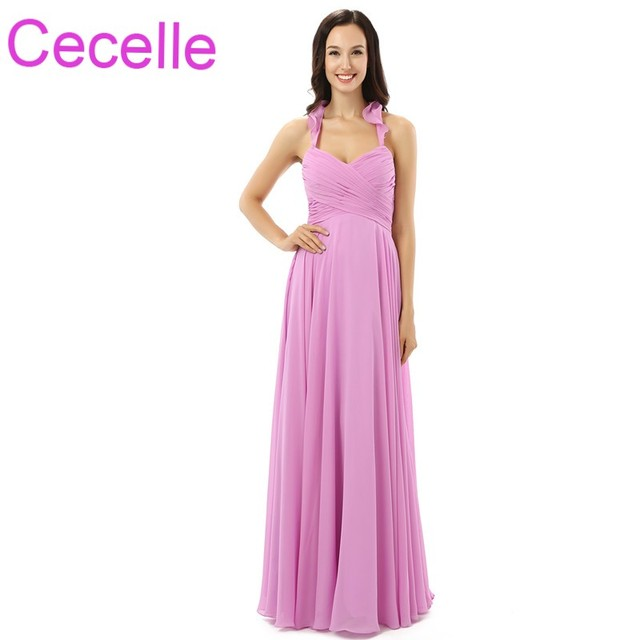 Hot Pink Chiffon Long Beach Bridesmaid Dresses Halter A Line Floor Length Pleats Corset Back