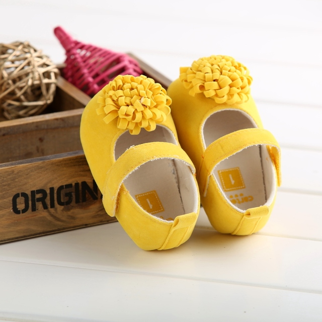 Candy Colors Newborn Baby Prewalker Soft Bottom Anti-slip Shoes Footwear Classic Princess Girl Crib Mary Jane Big Flower Shoes 3