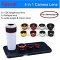 Apexel kits lente do telefone móvel para samsung s6 com zoom de 12x Lente telefoto + Wide Angle & Macro + Fisheye Lente olho de Peixe com Tampa