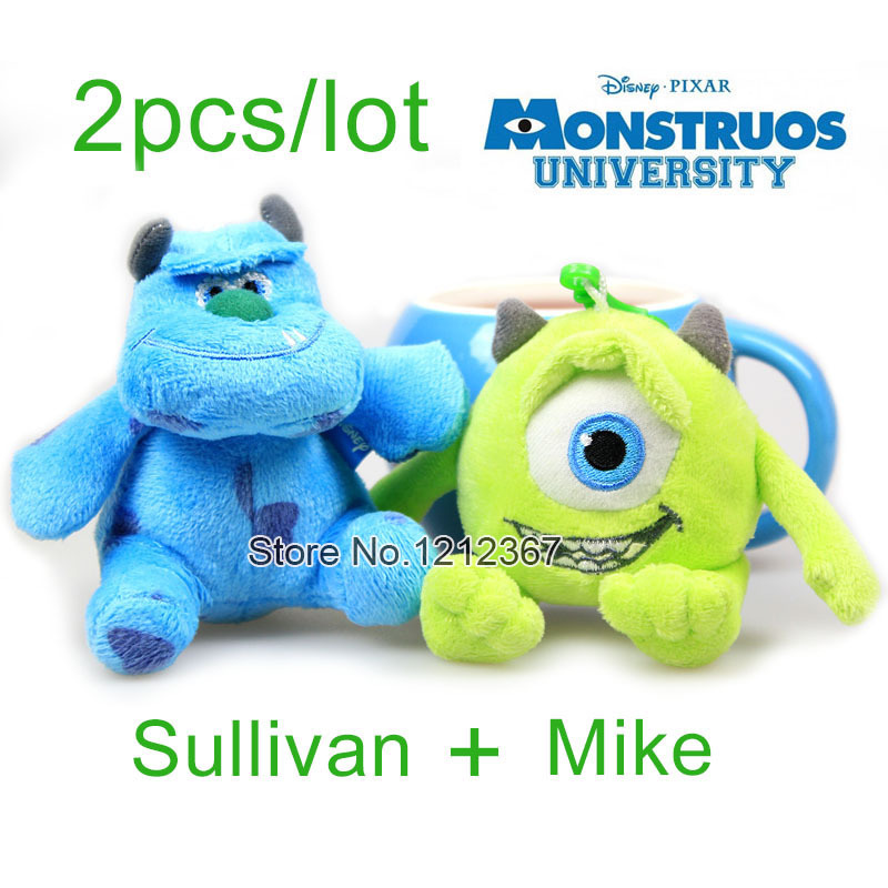 2pcs/lot Cartoon Monster Inc Monster University Sullivan Mike James P. Sullivan Plush Pendant Toy 10cm Funny Cute Phone Pendant