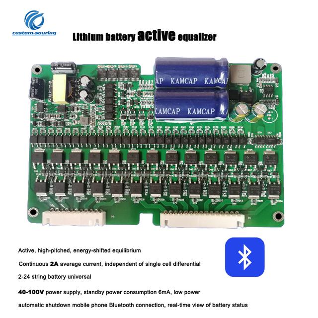 Bluetooth Lithium Battery Active Equalizer 0.1A 2A Balance 2S 24S BMS Iron lithium titanate ternary lithium battery with Box
