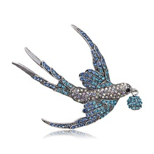 Rinhoo Colorful Rhinestone Swallow Brooches for Women Beautiful Vivid Bird Animal Brooch Pin 2 Colors Available Good Gift B-04 цена 2017