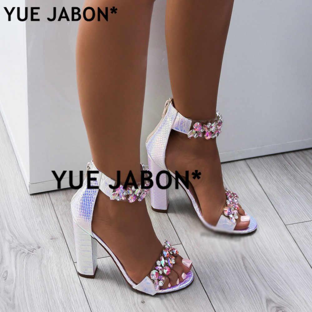 25fd5762c ... Luxury Crystal Thick Heel Sandals Brand Design Sexy Bling Rhinestone  High Heel Women Sandals Elegant Party ...