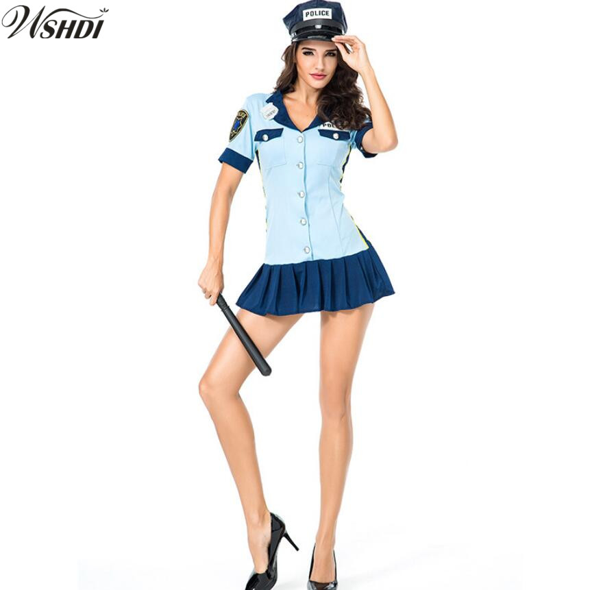 Hot Sale Blue Policewomen Party Dress Sexy Female Cops Uniform Halloween Cosplay Ladies Police Costume