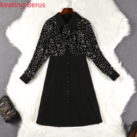 Women Spring Large Size Dress Star Print Black Dress Long Sleeve Loose Lapel Women's Dress 5XL Super Large Size Women's Clothes