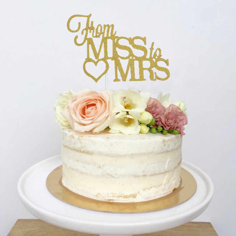 Chicinlife Miss à mme bannière feuille ballon Cupcake Toppers Bachelorette fête mariage nuptiale douche fiançailles accessoire Supplie