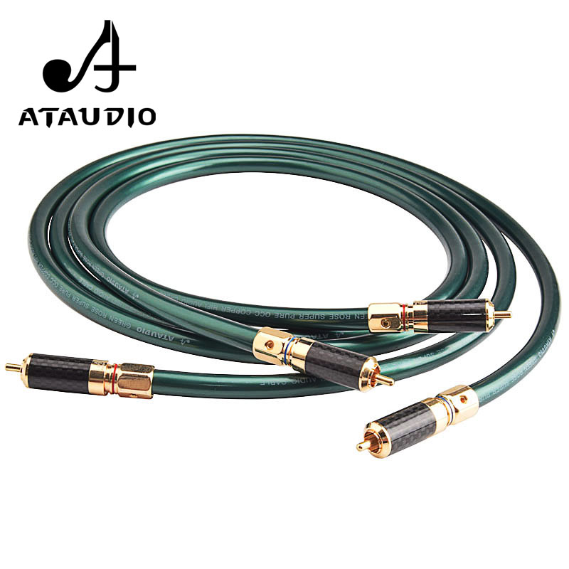 ATAUDIO Hifi RCA Cable Hi end Pure OCC 2RCA Male Audio Cable 1m 2m