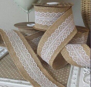 1 meter Natural Jute Burlap Hessian Ribbon with Lace Trims Tape Rustic Wedding Decoration burlap roll ribbon T361