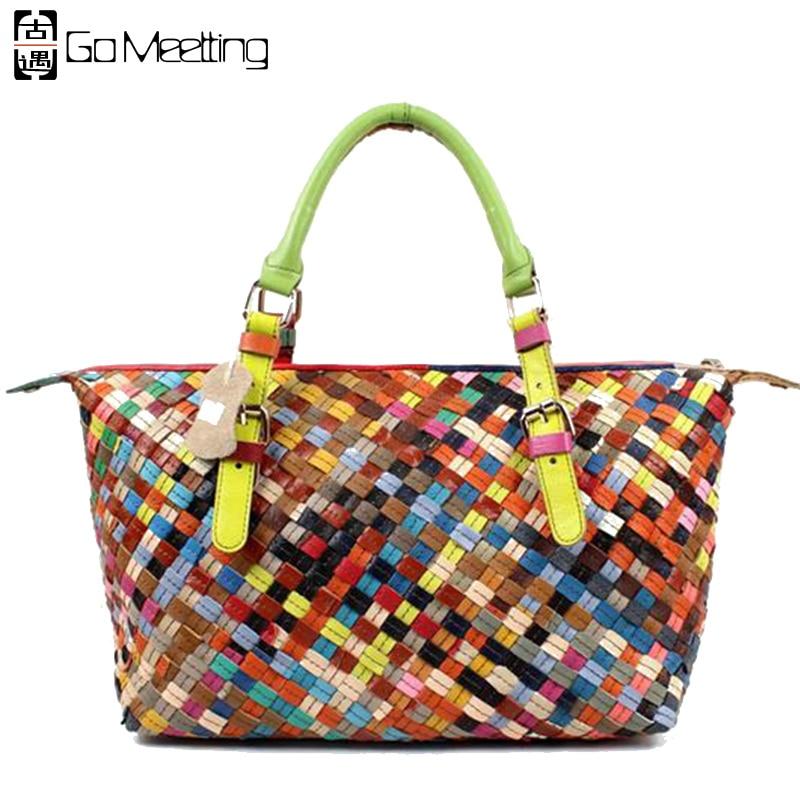 ФОТО Go Meetting Genuine Leather Women's Handbags Color Knitting Sheepskin Women Shoulder Bag Colorful Stripe Totes WS28