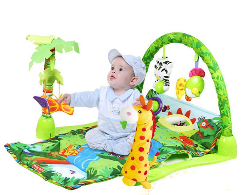 [Funny] 100% Safe Delicate Music Sound Farm Animal giraffe Baby Playing Mat Carpet activity forest Play mat Gym Toy game mat