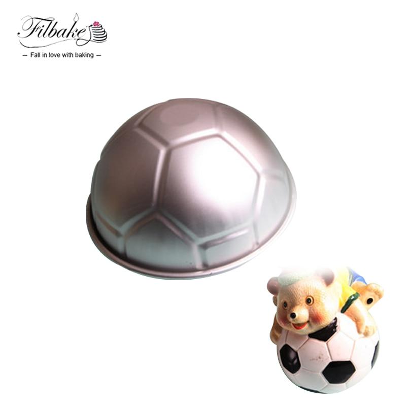 FILBAKE 1 PCS 3D Half Round Ball Shaped Football Cake Mold 8'' Thickening Aluminum Alloy Mould Birthday Baking Pan