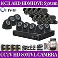 16 Channel 800TVL IR Weatherproof video Surveillance CCTV Camera Kit 16ch wifi DVR Recorder System camera kit no HDD