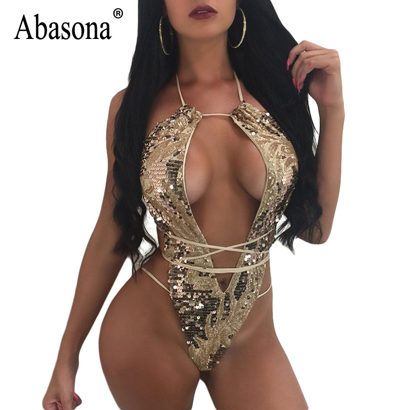 Abasona Gold Sequin Bodysuit Woman Summer Party Wear Playsuits Cut Out Bandage Sexy Body ...