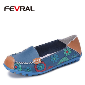 Image 1 - FEVRAL Women Casual Shoes Genuine Leather Boat Comfortable Soft Gommino Flat Ventilation Fashion Printing Shoes Woman 4 Color