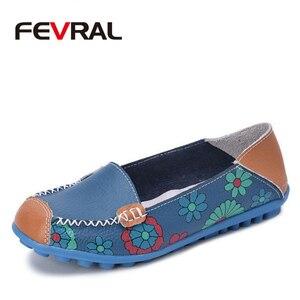 Image 1 - FEVRAL femmes chaussures décontractées en cuir véritable bateau confortable doux Gommino plat Ventilation mode impression chaussures femme 4 couleur