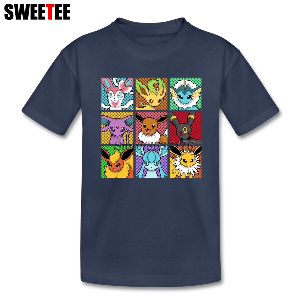 Pop Eeveelutions Pokemon Go tshirts kids Short Sleeve 4T-8T Crew Neck T-Shirt children Shirt Top Clothing For Boys Girls white back graphic print crew neck short sleeve men s casual t shirt