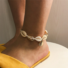 Ailodo Fashion Sea Shell Anklet Women Gold Silver Color Scallop Bracelet Charm Bohemian Ankle Boho Foot Jewelry LD175