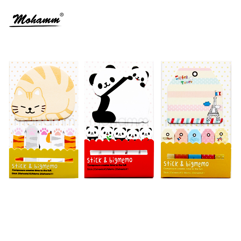 Animal Cat Panda Cute Kawaii Sticky Notes  Memo Pad School Supplies Planner Stickers Paper Bookmarks Stationery