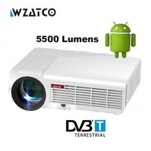 Android 4.4 5500 lúmenes 1080 P LED Proyector 3D Full HD reloj proyector de diapositivas teléfono celular móvil digital multimedia beamer HDMI