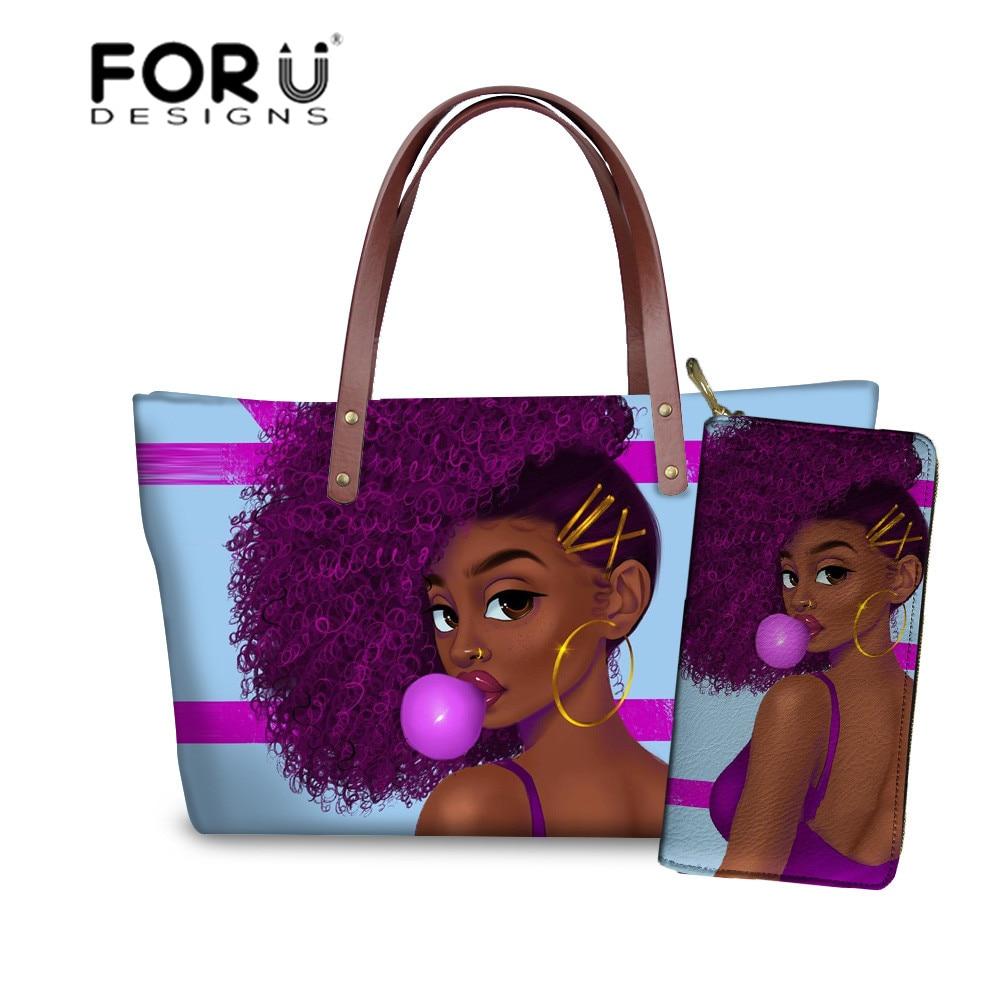 FORUDESIGNS Women Handbags For Black Art Afro Girls Design Shoulder Bag Ladies 2pcs/set Handbag&Purse Females Summer Beach Totes
