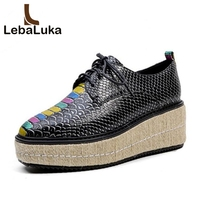 LebaLuka Size 34 43 Fashion Women's Real Genuine Leather Wedges Shoes Women Pattern Trifle Pumps Platform Shoes Women Footwears