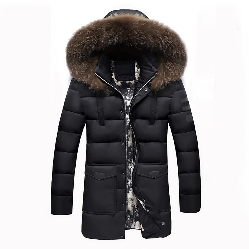2016 male Cryogenic cotton coat solid slim hooded winter jacket men Heavy fur collar medium-long outerwear thicken warm parka