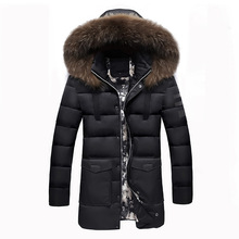 Male Cryogenic cotton coat solid slim hooded winter jacket men fur collar medium-long outerwear Overcoat thicken warm parka
