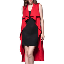 2016 Women Fashion Waterfull Sleeveless Trench Coat Ladies Autumn Casual Loose Lapel Cardigan Long Outerwear Plus Size
