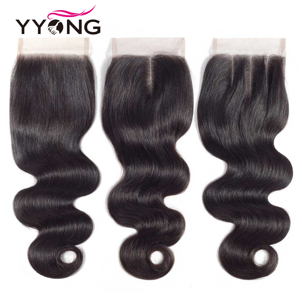 Yyong Hair 4x4 Peruvian Swiss Lace Closure Body Wave 8 20 Inch Free Middle Three Part