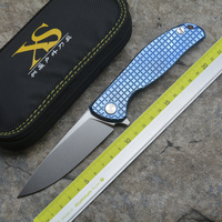 XS Flipper 95 D2 steel blade Titanium handle outdoor camping hunting pocket kitchen fruit folding knife EDC tool